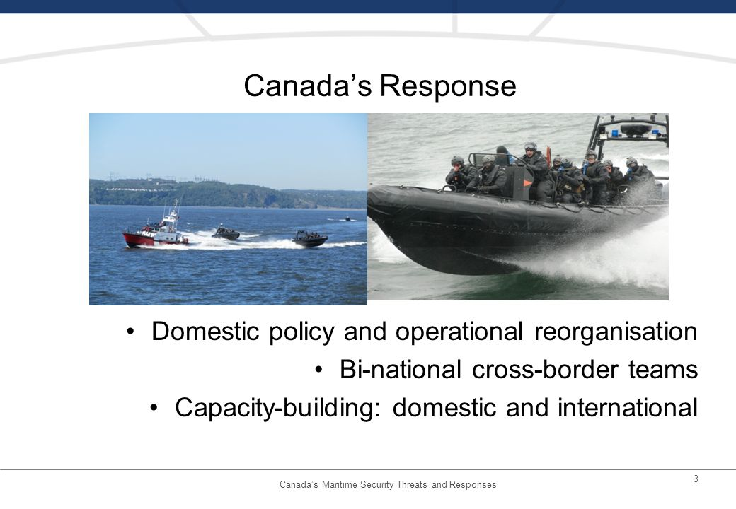 3 Canadas Response Domestic policy and operational reorganisation Bi-national cross-border teams Capacity-building: domestic and international Canadas Maritime Security Threats and Responses