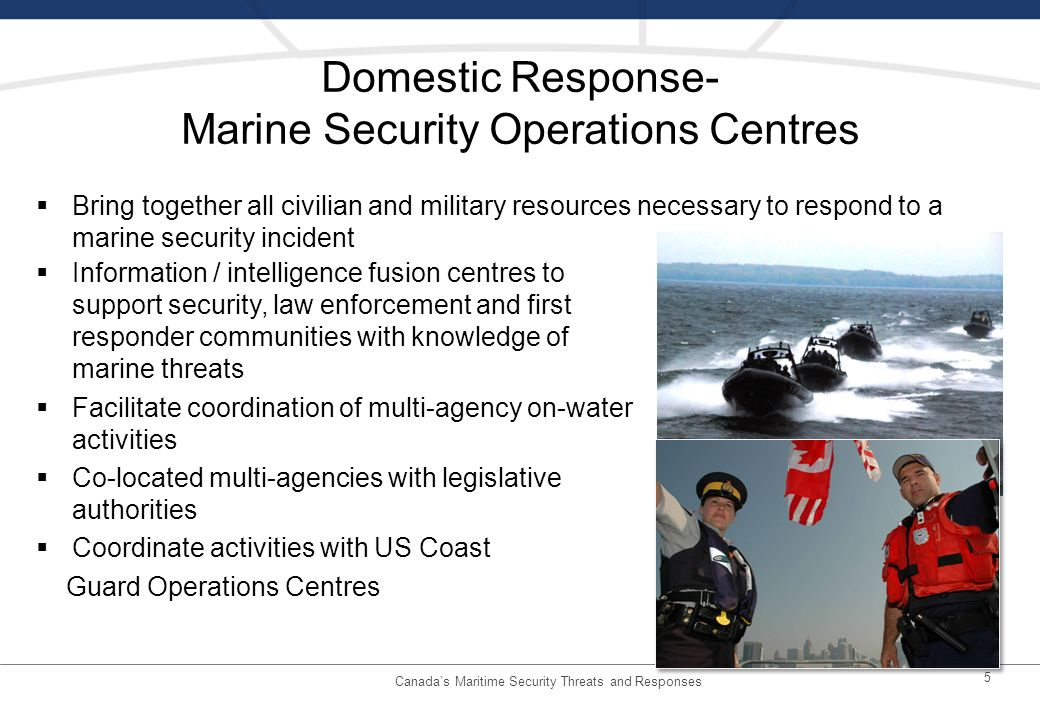 Domestic Response- Marine Security Operations Centres Information / intelligence fusion centres to support security, law enforcement and first responder communities with knowledge of marine threats Facilitate coordination of multi-agency on-water activities Co-located multi-agencies with legislative authorities Coordinate activities with US Coast Guard Operations Centres 5 Bring together all civilian and military resources necessary to respond to a marine security incident Canadas Maritime Security Threats and Responses
