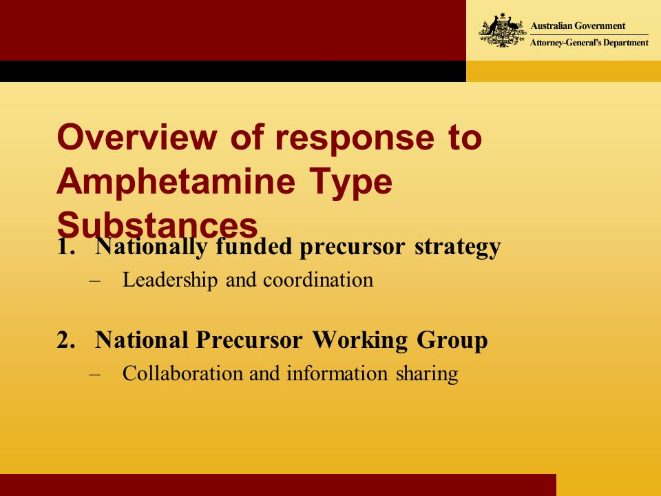 Overview of response to Amphetamine Type Substances 1.Nationally funded precursor strategy –Leadership and coordination 2.National Precursor Working Group –Collaboration and information sharing