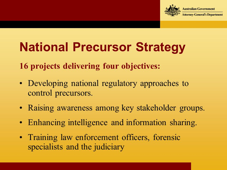 National Precursor Strategy 16 projects delivering four objectives: Developing national regulatory approaches to control precursors. Raising awareness