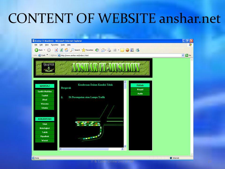 CONTENT OF WEBSITE anshar.net IT & Cyber Crime Unit of INP22