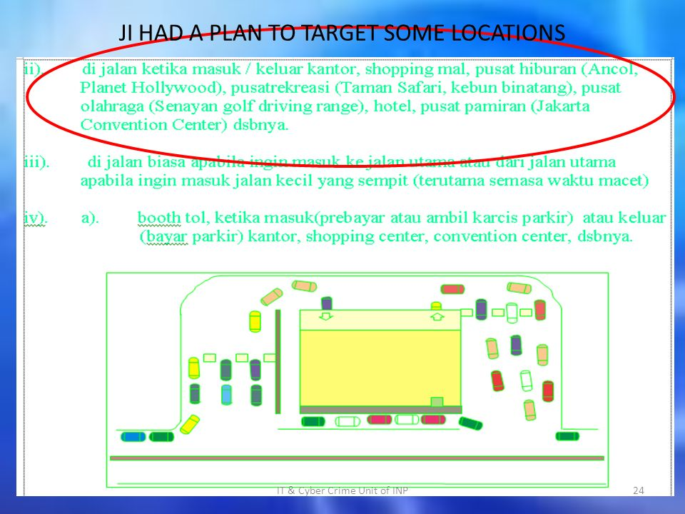 JI HAD A PLAN TO TARGET SOME LOCATIONS IT & Cyber Crime Unit of INP24
