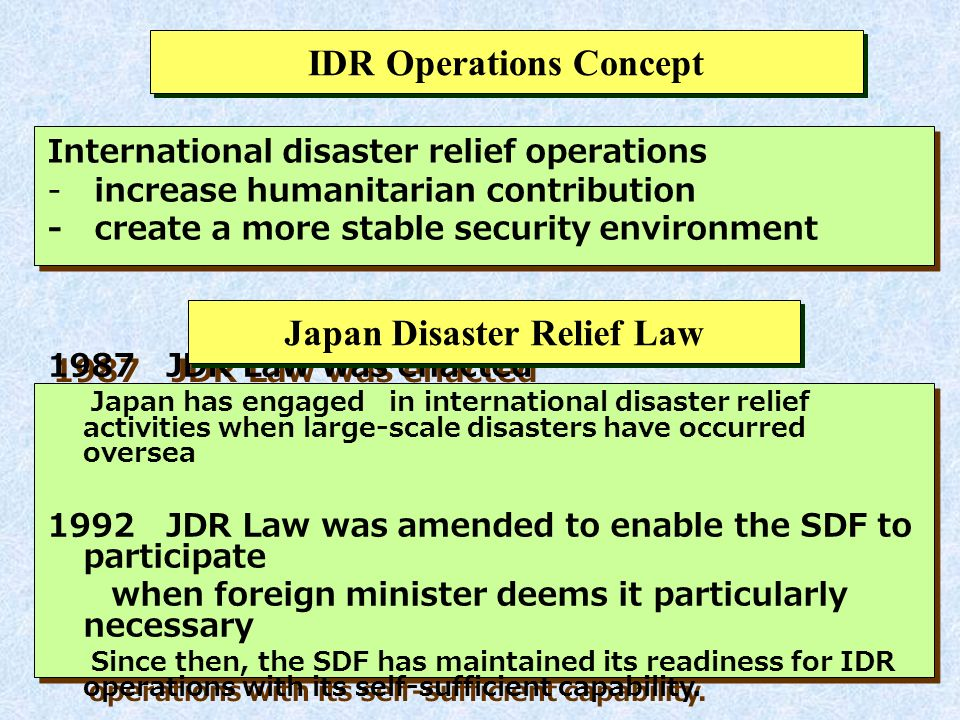 Our Disaster Relief Operations are based on the Request of the Receiving Countries or International Organizations Defense Minister orders the SDF to dispatch its units Foreign Minister consults with Defense Minister.