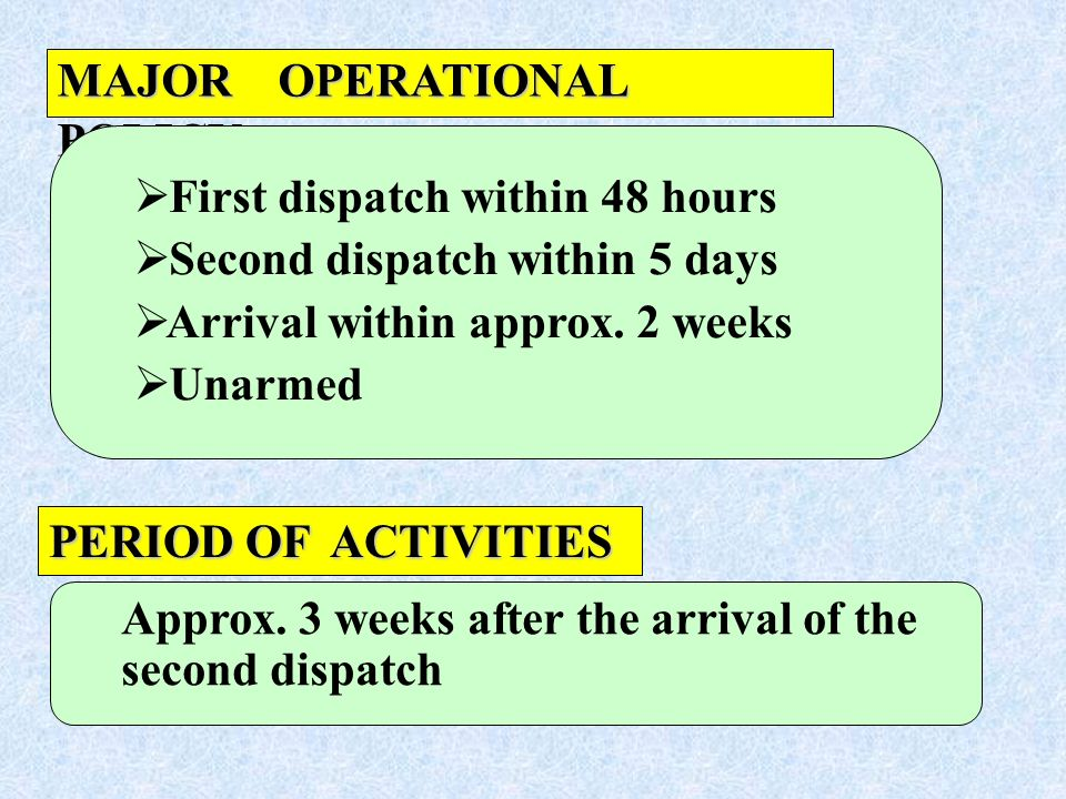 PERIOD OF ACTIVITIES MAJOR OPERATIONAL POLICY First dispatch within 48 hours Second dispatch within 5 days Arrival within approx. 2 weeks Unarmed Appr