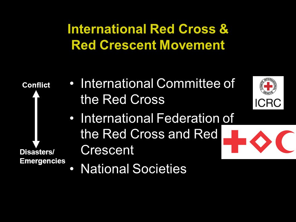 International Red Cross & Red Crescent Movement International Committee of the Red Cross International Federation of the Red Cross and Red Crescent National Societies Conflict Disasters/ Emergencies