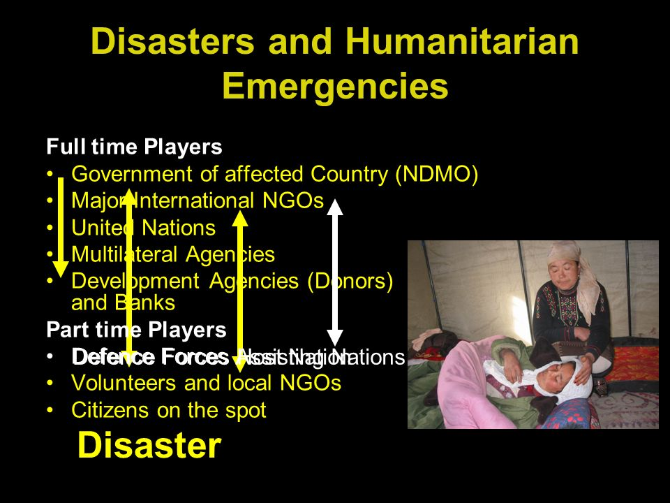 Full time Players Government of affected Country (NDMO) Major International NGOs United Nations Multilateral Agencies Development Agencies (Donors) and Banks Part time Players Defence Forces Volunteers and local NGOs Citizens on the spot Disasters and Humanitarian Emergencies Disaster Defence Forces Host NationDefence Forces Assisting Nations