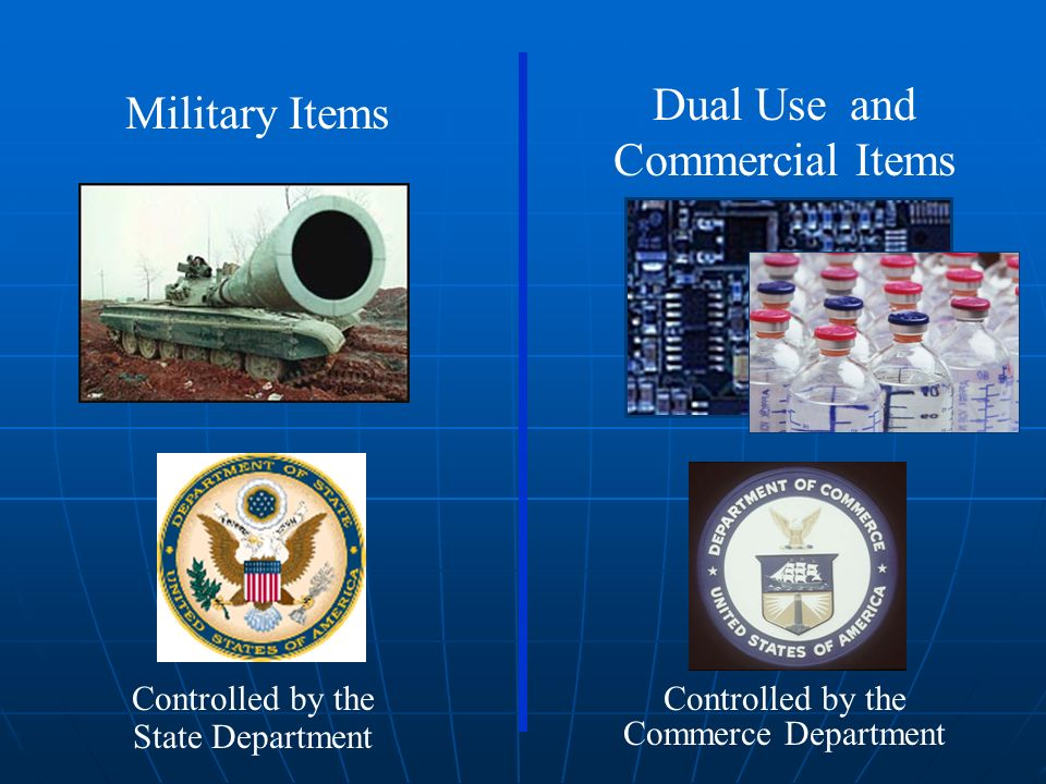 Military Items Dual Use and Commercial Items Controlled by the State Department Controlled by the Commerce Department