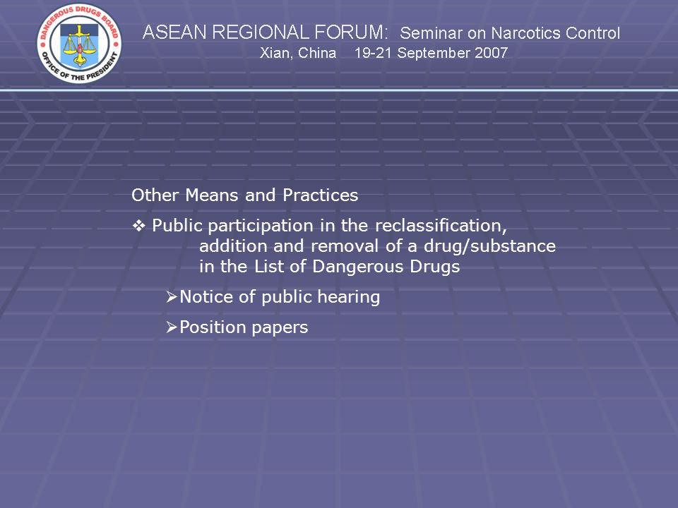 Other Means and Practices Public participation in the reclassification, addition and removal of a drug/substance in the List of Dangerous Drugs Notice
