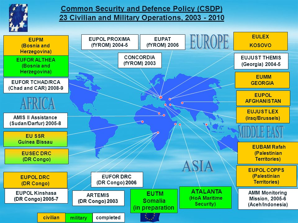 EUPM (Bosnia and Herzegovina) AMM Monitoring Mission, 2005-6 (Aceh/Indonesia) EUJUST LEX (Iraq/Brussels) Common Security and Defence Policy (CSDP) 23