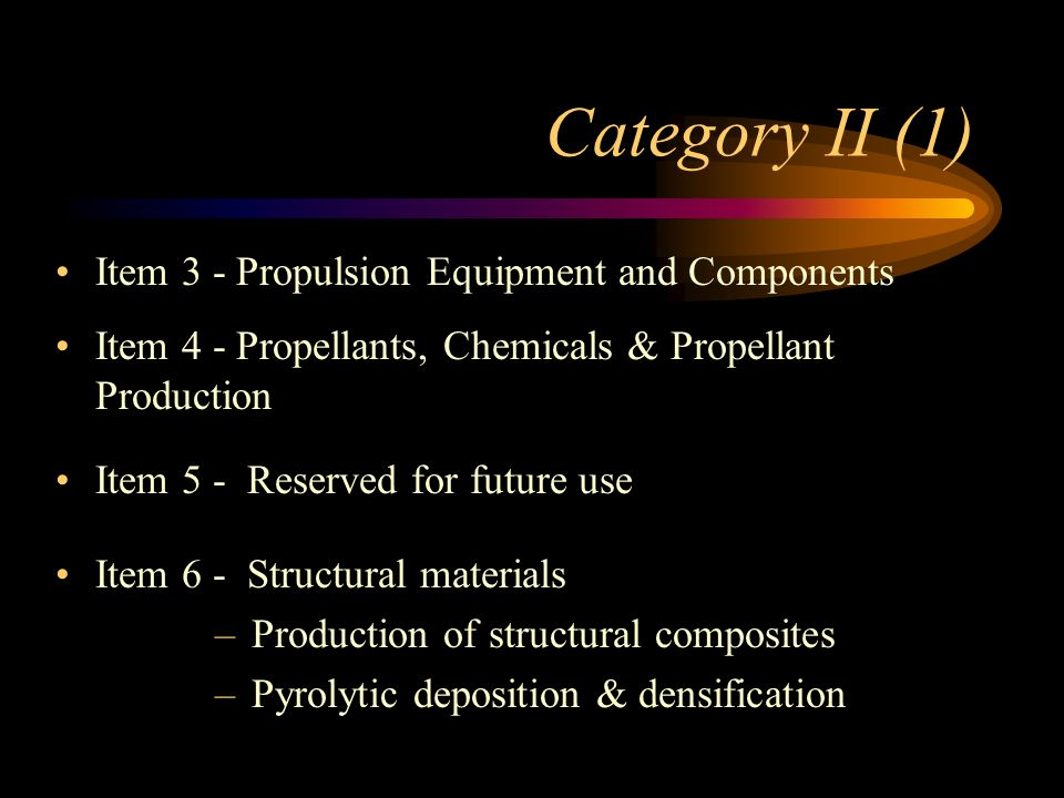 Category I Item 1 - Complete Delivery Systems Item 2 - Complete Subsystems usable for Complete Delivery Systems