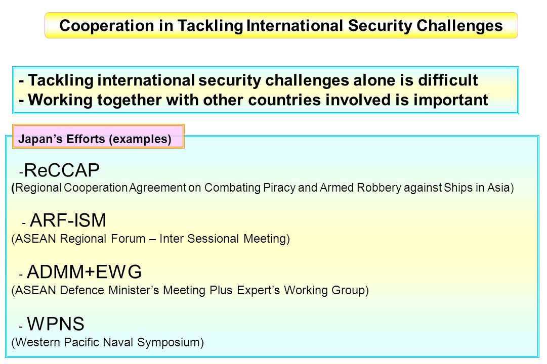 Cooperation in Tackling International Security Challenges ReCCAP (Regional Cooperation Agreement on Combating Piracy and Armed Robbery against Ships i