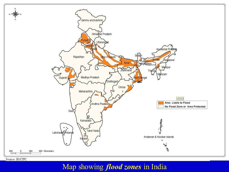 Map showing flood zones in India Source: BMTPC