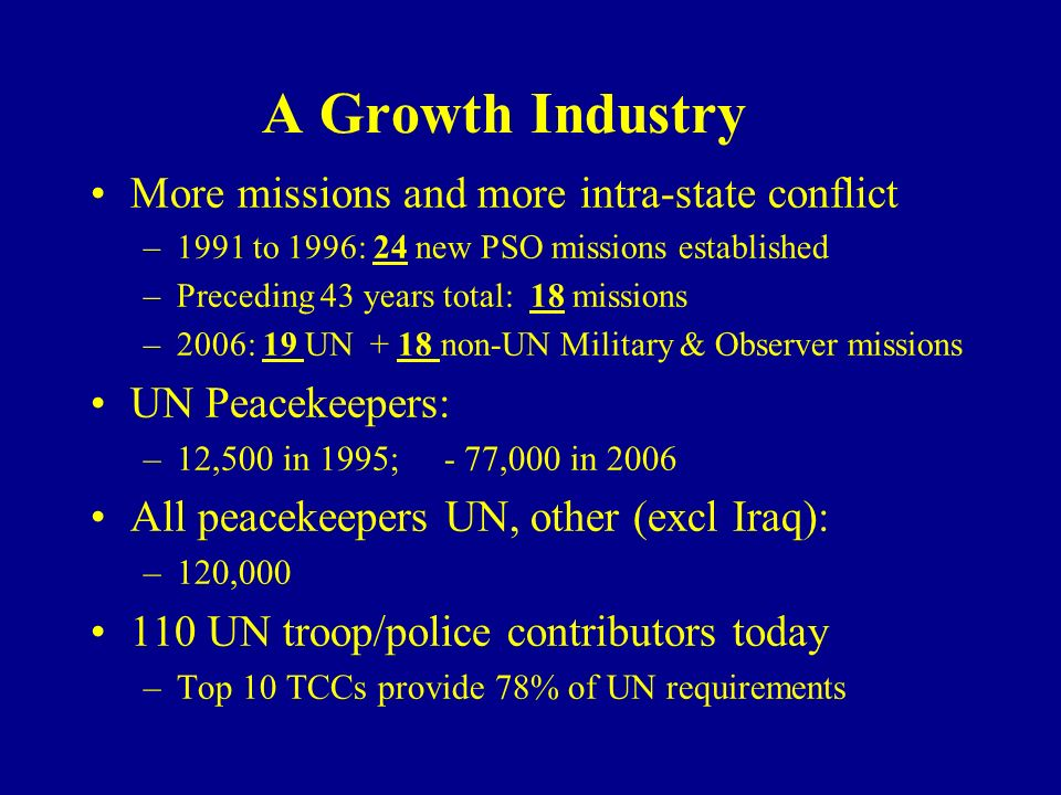 A Growth Industry More missions and more intra-state conflict –1991 to 1996: 24 new PSO missions established –Preceding 43 years total: 18 missions –2