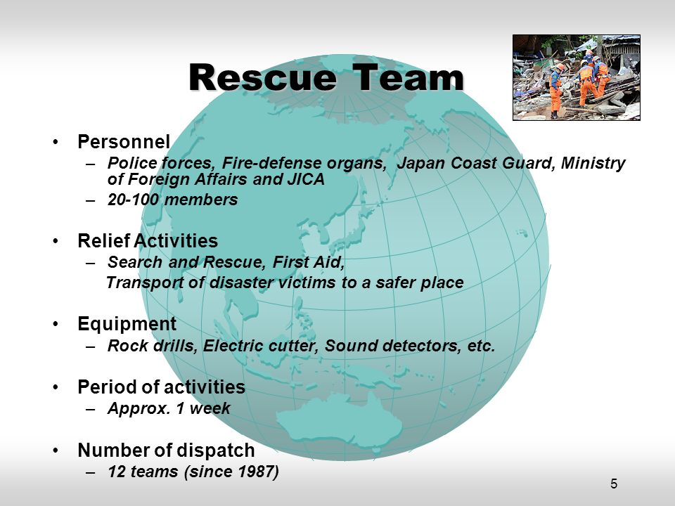 5 Rescue Team Personnel –Police forces, Fire-defense organs, Japan Coast Guard, Ministry of Foreign Affairs and JICA –20-100 members Relief Activities –Search and Rescue, First Aid, Transport of disaster victims to a safer place Equipment –Rock drills, Electric cutter, Sound detectors, etc.