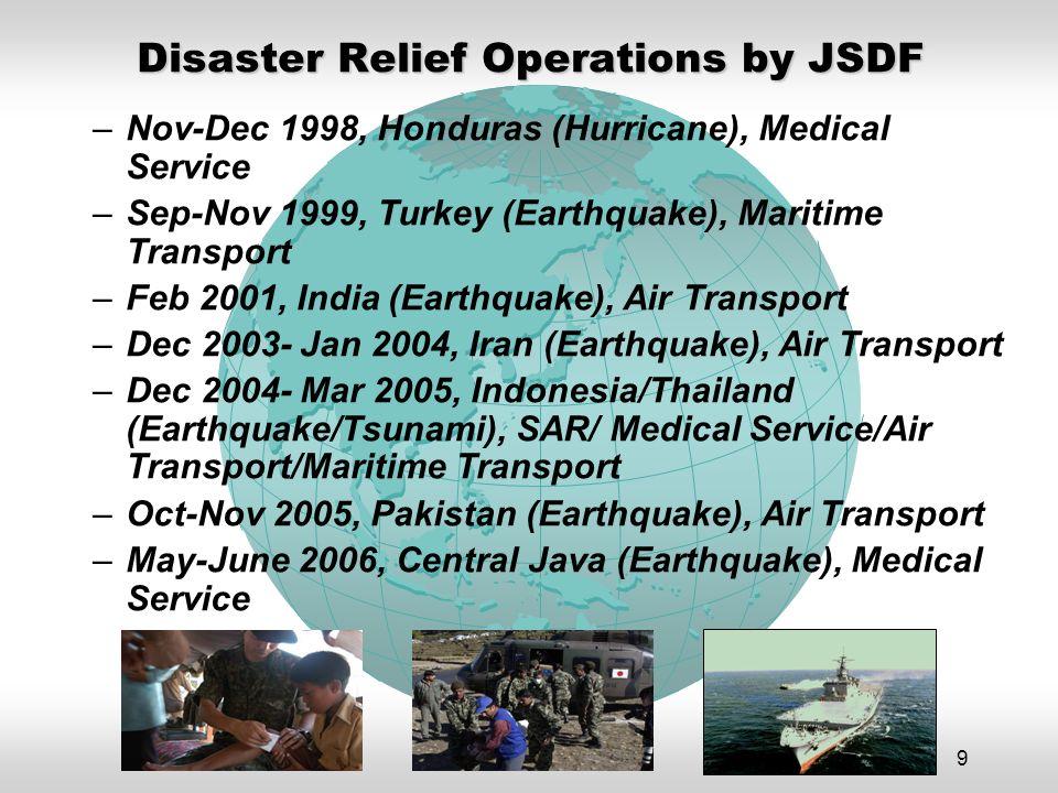 9 –Nov-Dec 1998, Honduras (Hurricane), Medical Service –Sep-Nov 1999, Turkey (Earthquake), Maritime Transport –Feb 2001, India (Earthquake), Air Transport –Dec 2003- Jan 2004, Iran (Earthquake), Air Transport –Dec 2004- Mar 2005, Indonesia/Thailand (Earthquake/Tsunami), SAR/ Medical Service/Air Transport/Maritime Transport –Oct-Nov 2005, Pakistan (Earthquake), Air Transport –May-June 2006, Central Java (Earthquake), Medical Service Disaster Relief Operations by JSDF