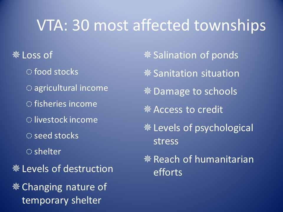 VTA: 30 most affected townships Loss of food stocks agricultural income fisheries income livestock income seed stocks shelter Levels of destruction Changing nature of temporary shelter Salination of ponds Sanitation situation Damage to schools Access to credit Levels of psychological stress Reach of humanitarian efforts