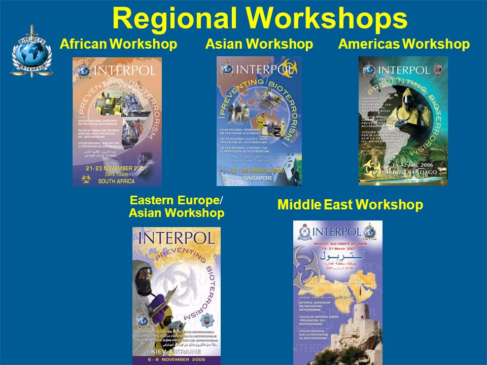 Regional Workshops African Workshop Asian Workshop Americas Workshop Middle East Workshop Eastern Europe / Asian Workshop
