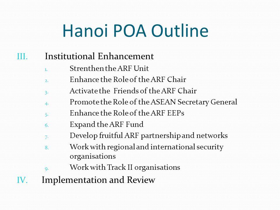 Hanoi POA Outline III. Institutional Enhancement 1.