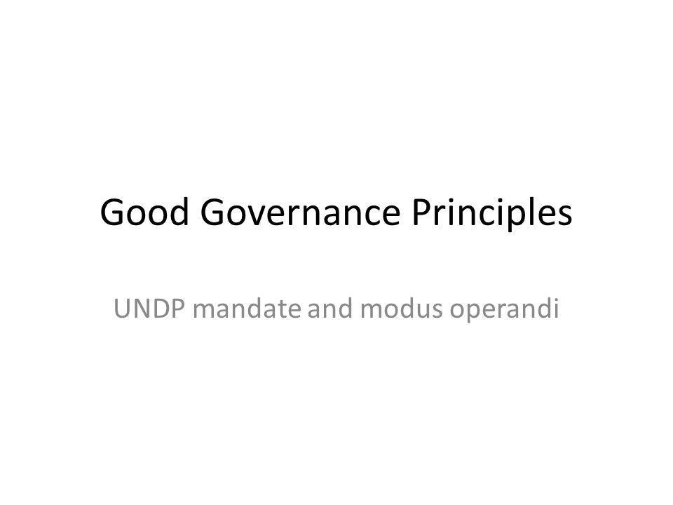 Good Governance Principles UNDP mandate and modus operandi