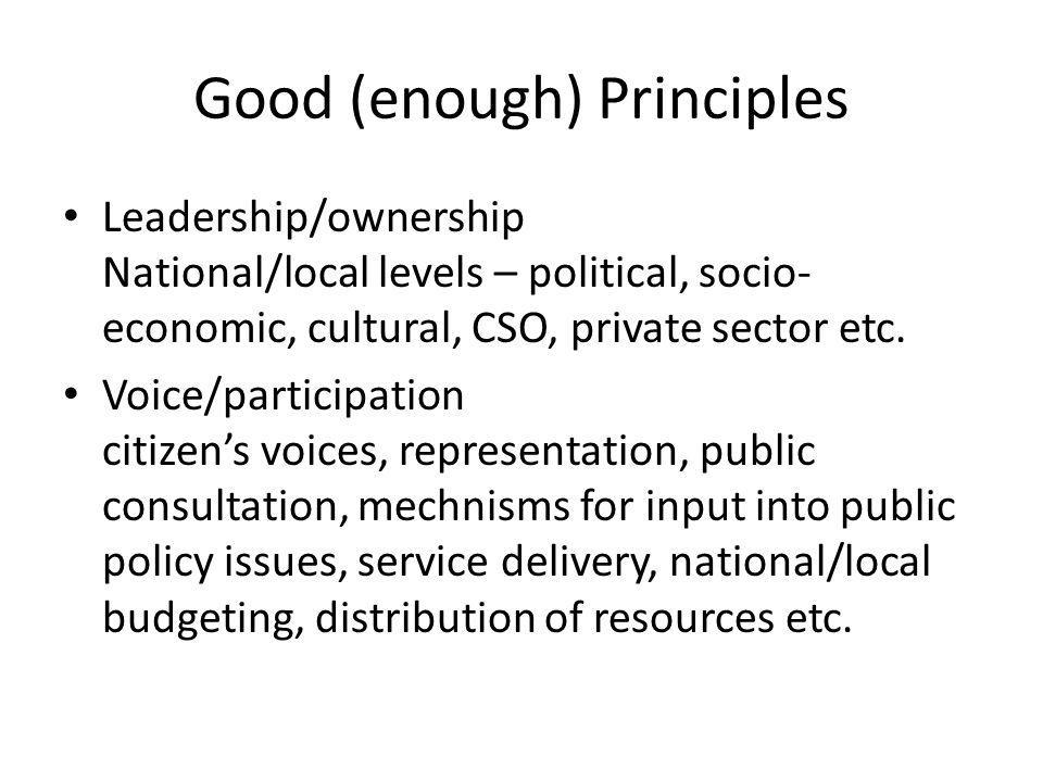 Good (enough) Principles Leadership/ownership National/local levels – political, socio- economic, cultural, CSO, private sector etc. Voice/participati