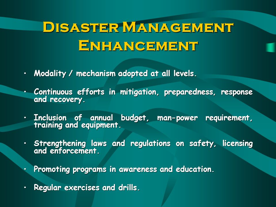 LESSONSLEARNED The need to have an integrated disaster management system to deal with any kind of disaster The need to have a sound system of coordination among agencies in search and rescue operations as well as relief and rehabilitation The need to have a specialized and highly skilled search and rescue team The need to formulate a policy and mechanism of Disaster Management in an integrated,coordinated and systematic manner to manage and handle disasters on land