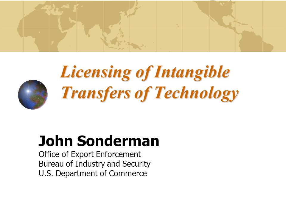 Issue Should intangible technology transfers be regulated.