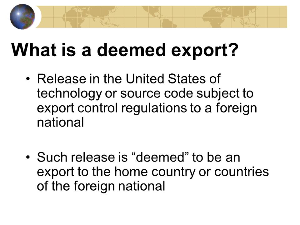 Summary Export control requirement for in-country transfers is feasible from both a regulatory and practical perspective A Technology Control Plan is an effective tool in managing access and preventing unauthorized disclosure – Including intangible technology transfer Key to compliance is outreach and education Important to consider measures for control of in- country transfers to insure that employment of foreign nationals do not provide a back door for the diversion of controlled technology