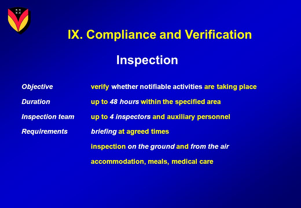 IX. Compliance and Verification Inspection Objectiveverify whether notifiable activities are taking place Durationup to 48 hours within the specified