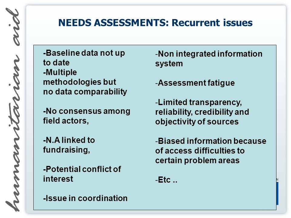 NEEDS ASSESSMENTS: Recurrent issues -Baseline data not up to date -Multiple methodologies but no data comparability -No consensus among field actors, -N.A linked to fundraising, -Potential conflict of interest -Issue in coordination -Non integrated information system -Assessment fatigue -Limited transparency, reliability, credibility and objectivity of sources -Biased information because of access difficulties to certain problem areas -Etc..