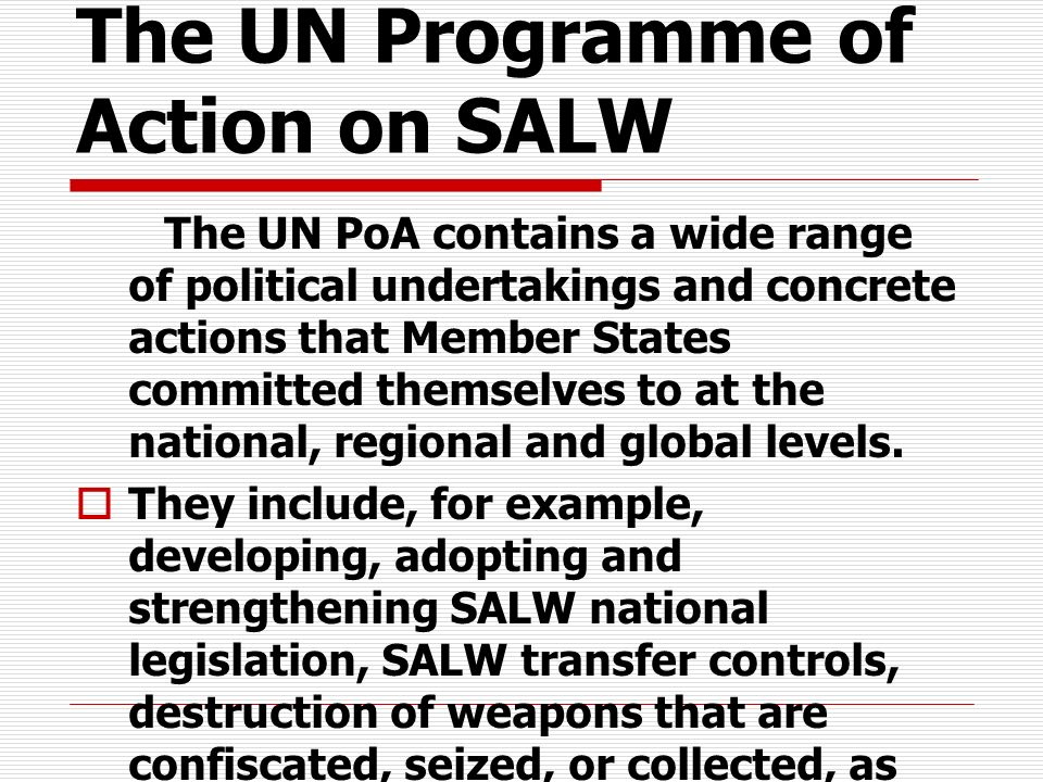 The UN Programme of Action on SALW The UN PoA contains a wide range of political undertakings and concrete actions that Member States committed themse