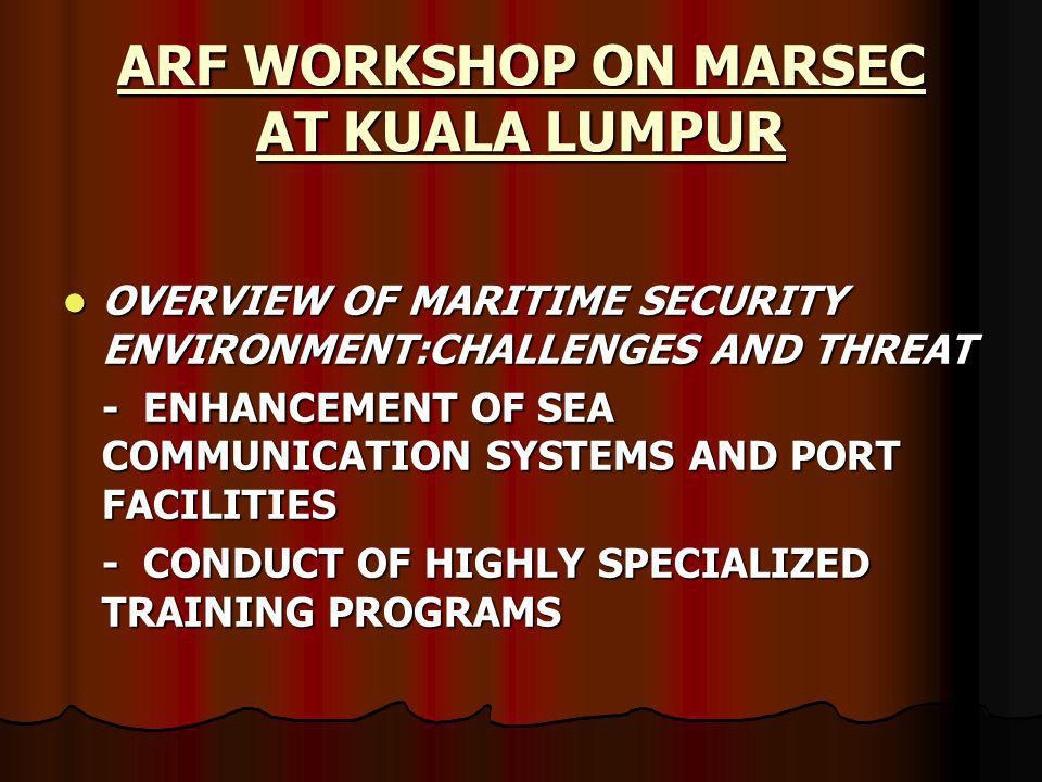 ARF WORKSHOP ON MARSEC AT KUALA LUMPUR OVERVIEW OF MARITIME SECURITY ENVIRONMENT:CHALLENGES AND THREAT OVERVIEW OF MARITIME SECURITY ENVIRONMENT:CHALLENGES AND THREAT - ENHANCEMENT OF SEA COMMUNICATION SYSTEMS AND PORT FACILITIES - CONDUCT OF HIGHLY SPECIALIZED TRAINING PROGRAMS