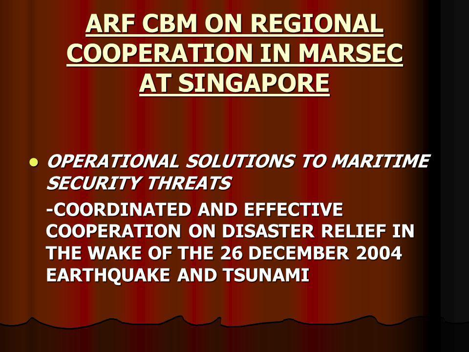 ARF CBM ON REGIONAL COOPERATION IN MARSEC AT SINGAPORE OPERATIONAL SOLUTIONS TO MARITIME SECURITY THREATS OPERATIONAL SOLUTIONS TO MARITIME SECURITY THREATS -COORDINATED AND EFFECTIVE COOPERATION ON DISASTER RELIEF IN THE WAKE OF THE 26 DECEMBER 2004 EARTHQUAKE AND TSUNAMI