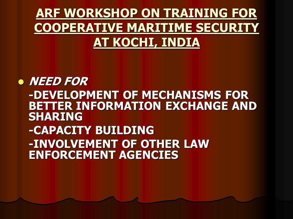 NEED FOR NEED FOR -DEVELOPMENT OF MECHANISMS FOR BETTER INFORMATION EXCHANGE AND SHARING -CAPACITY BUILDING -INVOLVEMENT OF OTHER LAW ENFORCEMENT AGENCIES ARF WORKSHOP ON TRAINING FOR COOPERATIVE MARITIME SECURITY AT KOCHI, INDIA