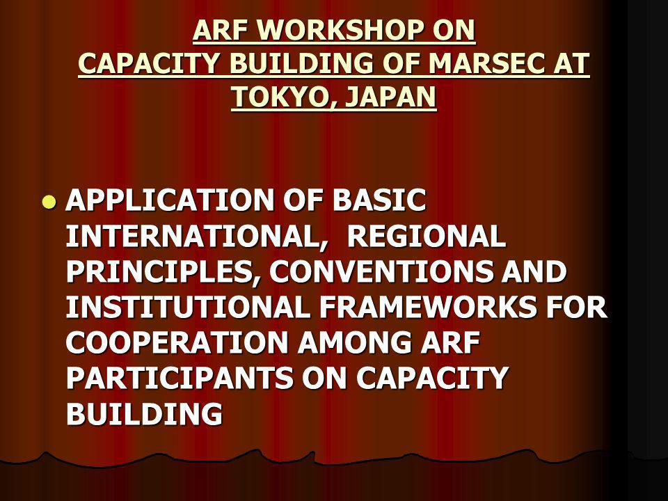 APPLICATION OF BASIC INTERNATIONAL, REGIONAL PRINCIPLES, CONVENTIONS AND INSTITUTIONAL FRAMEWORKS FOR COOPERATION AMONG ARF PARTICIPANTS ON CAPACITY BUILDING APPLICATION OF BASIC INTERNATIONAL, REGIONAL PRINCIPLES, CONVENTIONS AND INSTITUTIONAL FRAMEWORKS FOR COOPERATION AMONG ARF PARTICIPANTS ON CAPACITY BUILDING ARF WORKSHOP ON CAPACITY BUILDING OF MARSEC AT TOKYO, JAPAN