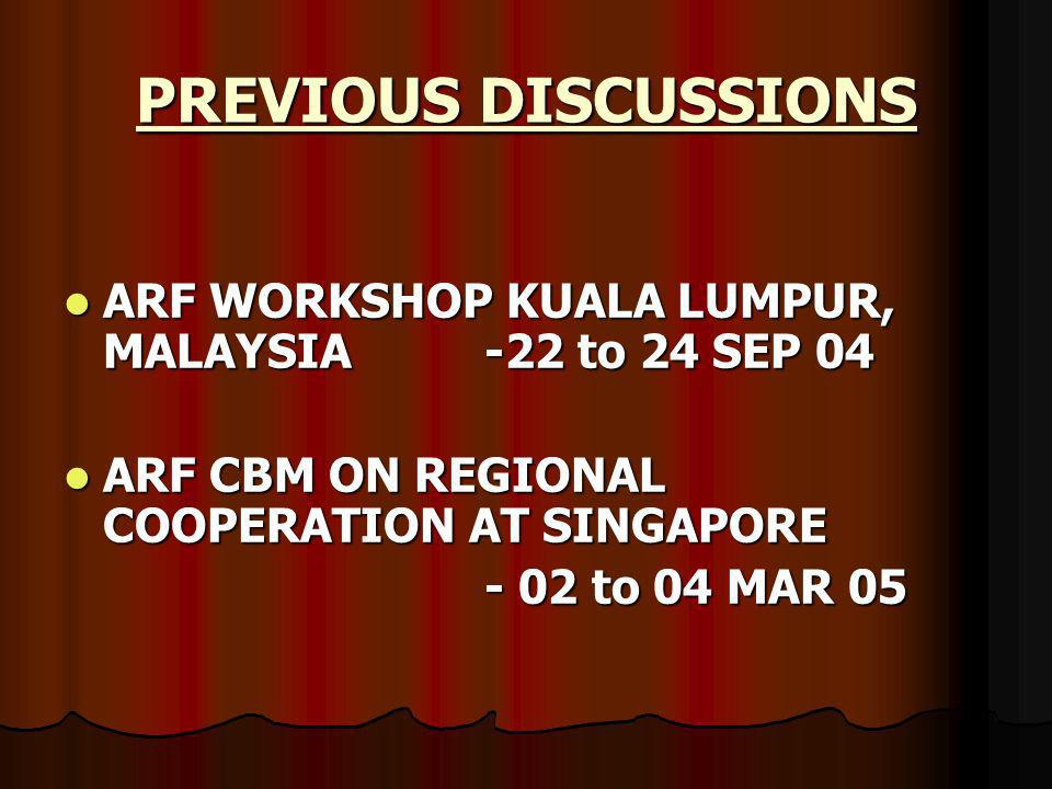 ARF WORKSHOP KUALA LUMPUR, MALAYSIA -22 to 24 SEP 04 ARF WORKSHOP KUALA LUMPUR, MALAYSIA -22 to 24 SEP 04 ARF CBM ON REGIONAL COOPERATION AT SINGAPORE ARF CBM ON REGIONAL COOPERATION AT SINGAPORE - 02 to 04 MAR 05