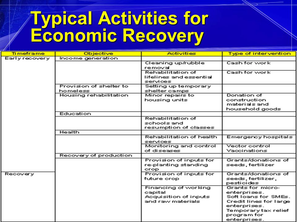 29Sep08RJovel42 Typical Activities for Economic Recovery