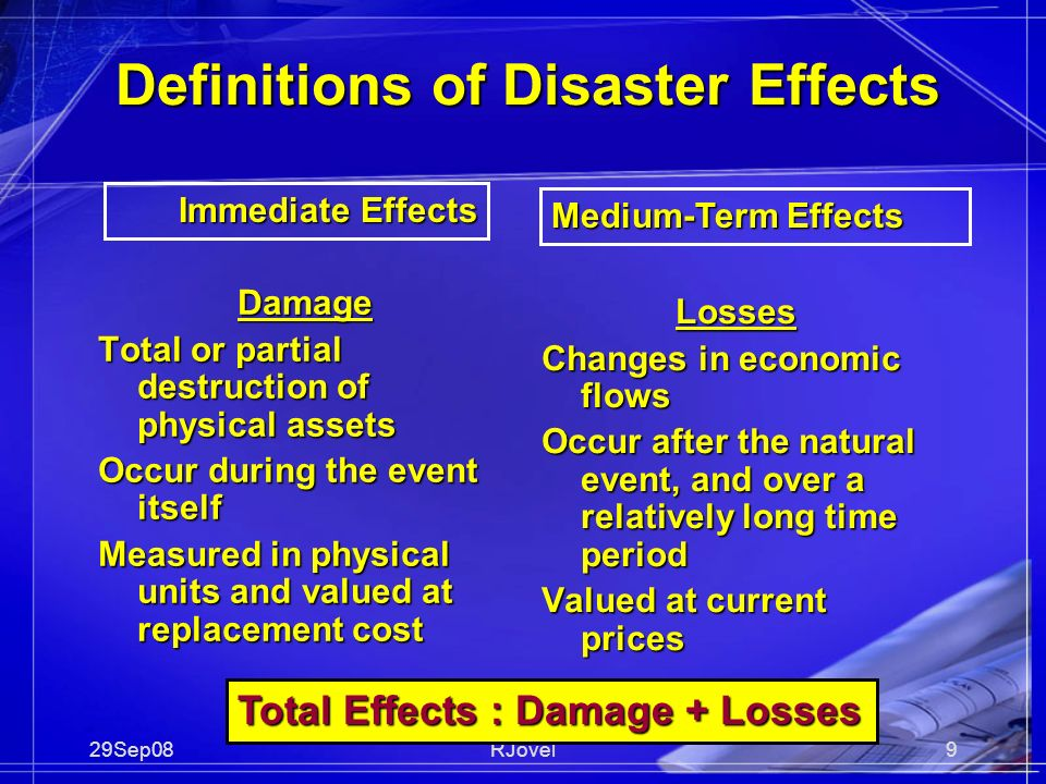 29Sep08RJovel9 Definitions of Disaster Effects Damage Total or partial destruction of physical assets Occur during the event itself Measured in physical units and valued at replacement cost Losses Changes in economic flows Occur after the natural event, and over a relatively long time period Valued at current prices Total Effects : Damage + Losses Immediate Effects Medium-Term Effects