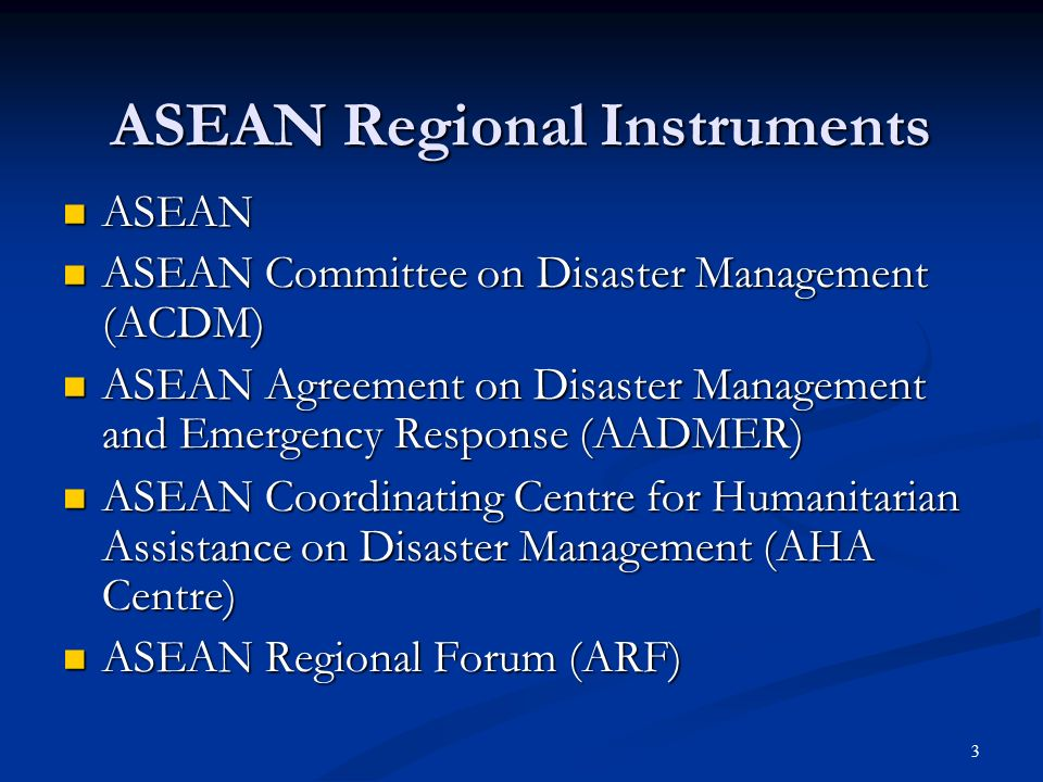 14 ASEAN Standby Arrangements For Disaster Relief and Emergency Response On Voluntary basis, earmark assets and capacities for Regional SA for DR and ER Emergency Response/SAR Directory Military and Civilian Assets Emergency stockpiles of Disaster Relief items DM expertise and technologies Communicate to AHA Centre AHA Centre consolidate, update, disseminate