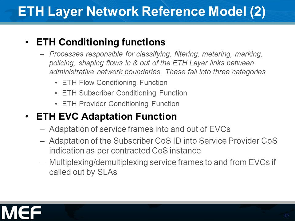 15 ETH Layer Network Reference Model (2) ETH Conditioning functions –Processes responsible for classifying, filtering, metering, marking, policing, shaping flows in & out of the ETH Layer links between administrative network boundaries.