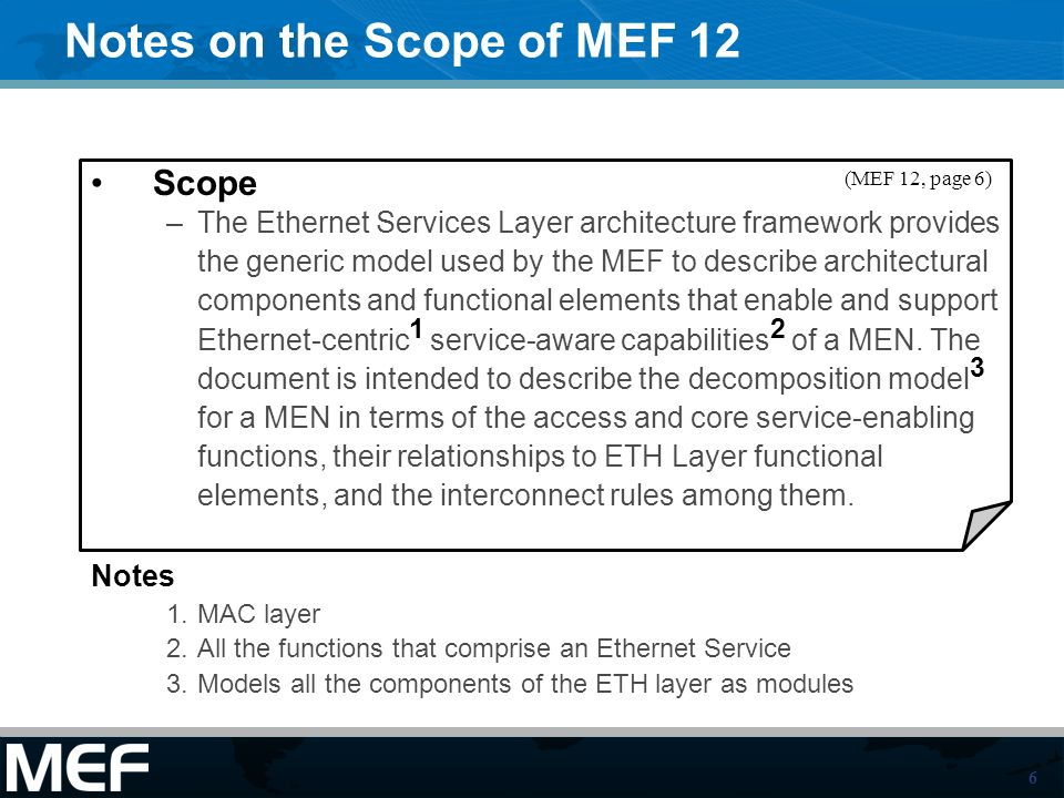 6 Notes on the Scope of MEF 12 Scope –The Ethernet Services Layer architecture framework provides the generic model used by the MEF to describe architectural components and functional elements that enable and support Ethernet-centric 1 service-aware capabilities 2 of a MEN.