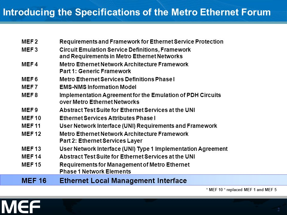 3 This Presentation Purpose –This presentation is intended as an introduction and companion to the MEF 16 Specification Audience –It is intended for Product Marketing, Engineering staff of equipment manufacturers involved with products and services that deliver Carrier Ethernet –It is intended for Service Provider Engineering staff involved in the management of products and services that comply to the MEF specifications Other Documents –Presentations of the other specifications and an overview of all specifications is available on the MEF web site –Other materials such as white papers and case studies are also available
