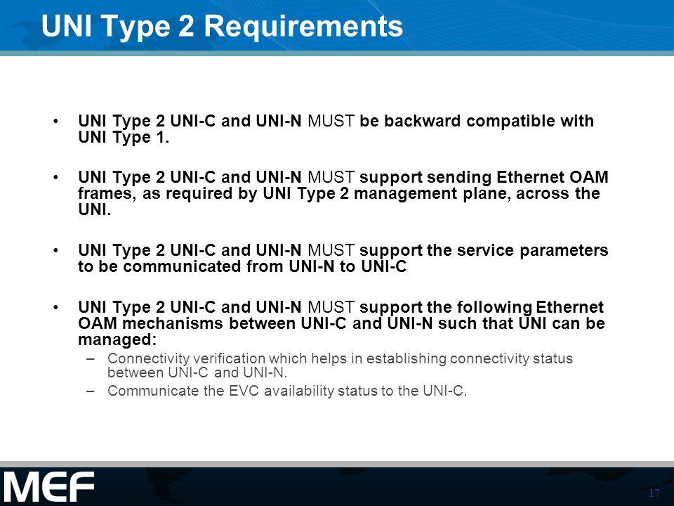 17 UNI Type 2 Requirements UNI Type 2 UNI-C and UNI-N MUST be backward compatible with UNI Type 1.
