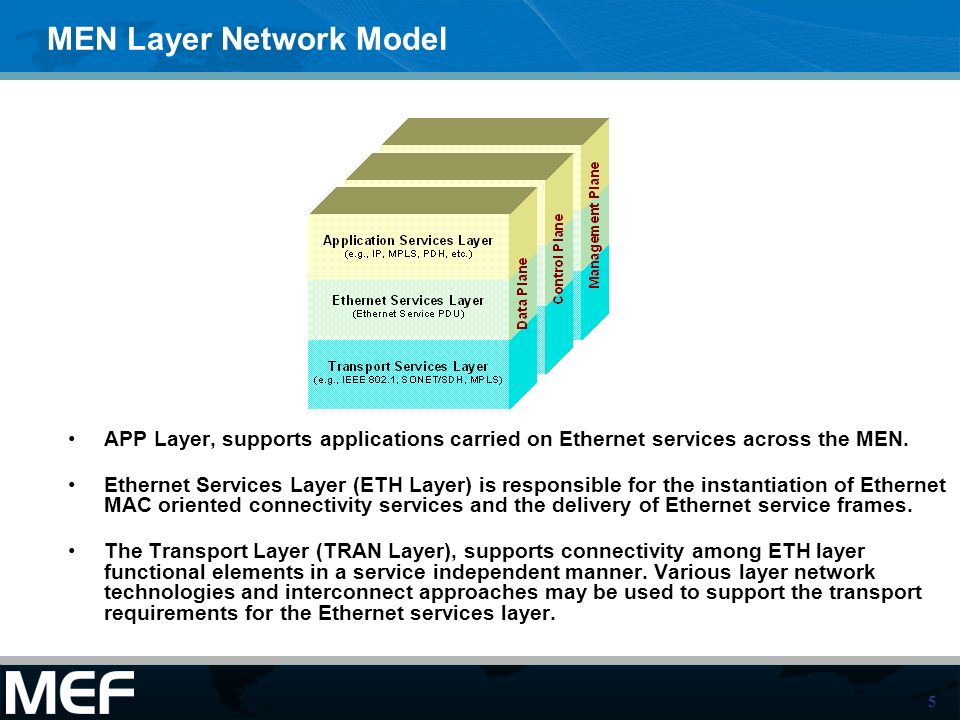 5 MEN Layer Network Model APP Layer, supports applications carried on Ethernet services across the MEN.