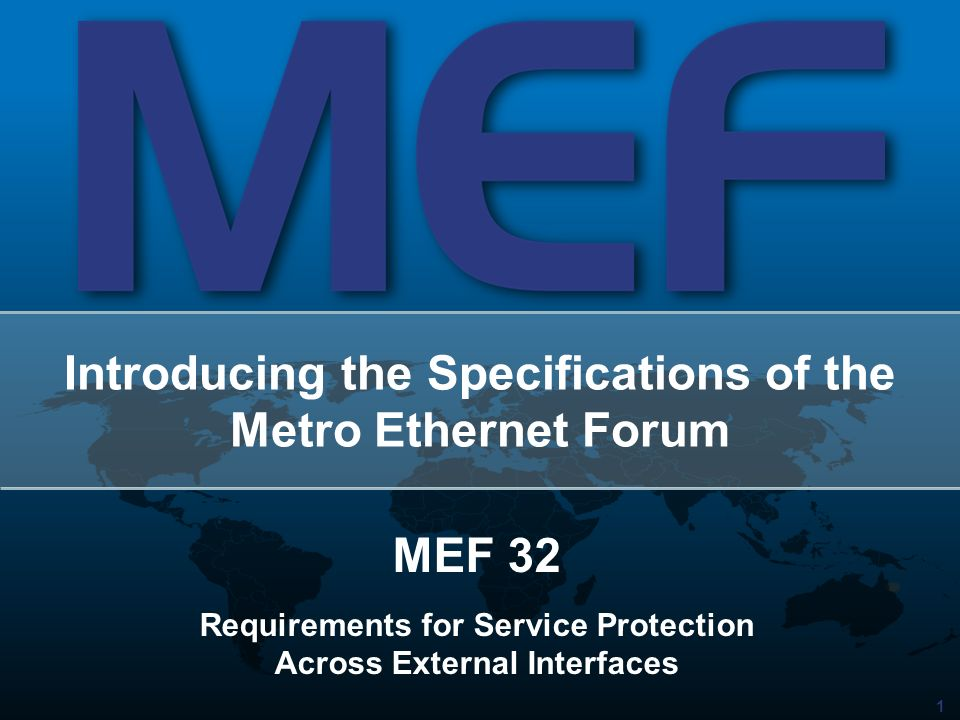 1 Introducing the Specifications of the Metro Ethernet Forum MEF 32 Requirements for Service Protection Across External Interfaces