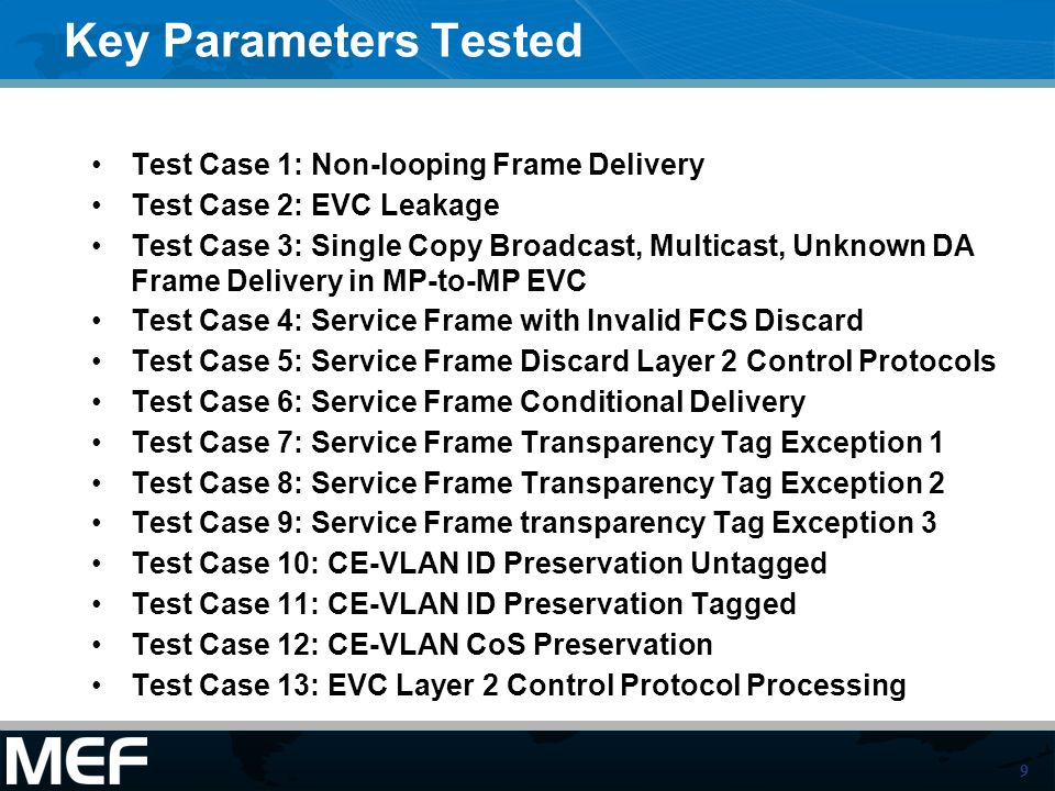 10 Example: ABSTRACT TEST CASES FOR ETHERNET SERVICES AT THE UNI Test Name Name derived from reference document Test Definition ID A punctuated alphanumeric string assigned to each defined requirement and test procedure couple using the following convention: one to three letter abbreviated source document name.