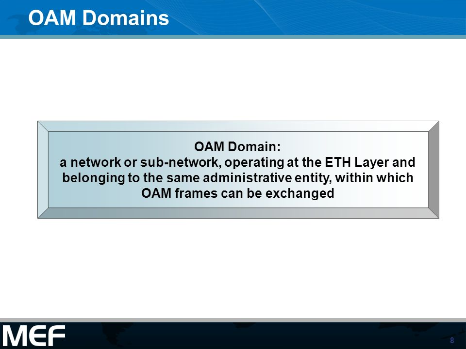 8 OAM Domains OAM Domain: a network or sub-network, operating at the ETH Layer and belonging to the same administrative entity, within which OAM frame