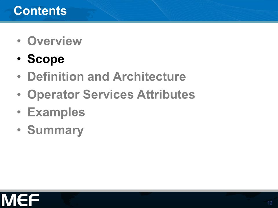 12 Contents Overview Scope Definition and Architecture Operator Services Attributes Examples Summary