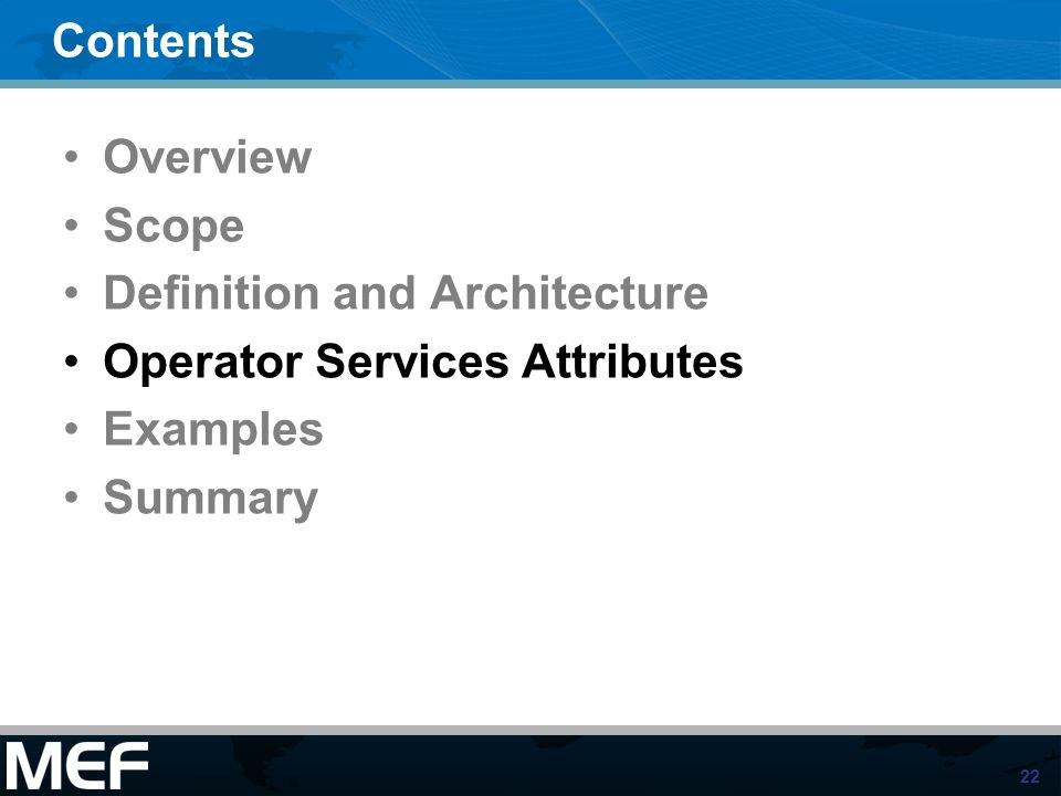22 Contents Overview Scope Definition and Architecture Operator Services Attributes Examples Summary