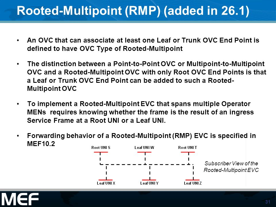 31 Rooted-Multipoint (RMP) (added in 26.1) An OVC that can associate at least one Leaf or Trunk OVC End Point is defined to have OVC Type of Rooted-Mu