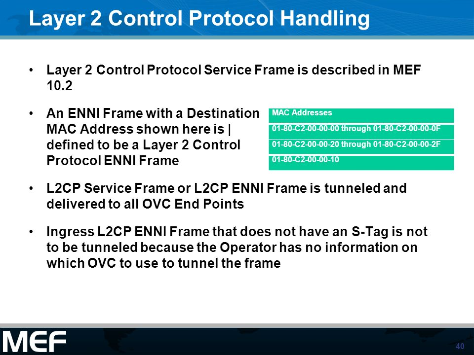 40 Layer 2 Control Protocol Handling Layer 2 Control Protocol Service Frame is described in MEF 10.2 An ENNI Frame with a Destination MAC Address show